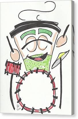 Latte Drummer Canvas Print by Loretta Nash