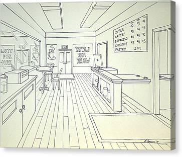 Latte For Work Canvas Print by Heidi Copeman