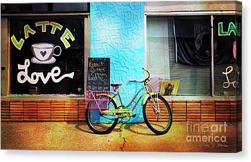 Canvas Print featuring the photograph Latte Love Bicycle by Craig J Satterlee