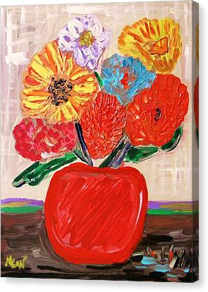Canvas Print featuring the painting Lattice And Red Vase by Mary Carol Williams