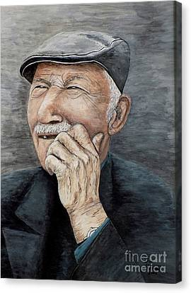 Laughing Old Man Canvas Print by Judy Kirouac