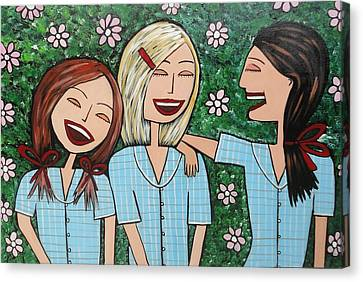 Laughing Schoolgirls Canvas Print