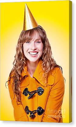 Laughing Winter Party Girl On Yellow Background Canvas Print by Jorgo Photography - Wall Art Gallery