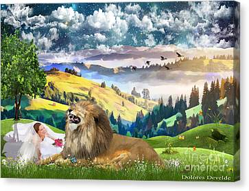 Laughing With The King Of Glory Canvas Print by Dolores Develde