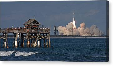 Canvas Print featuring the photograph Launch Beyond The Pier by Ron Dubin