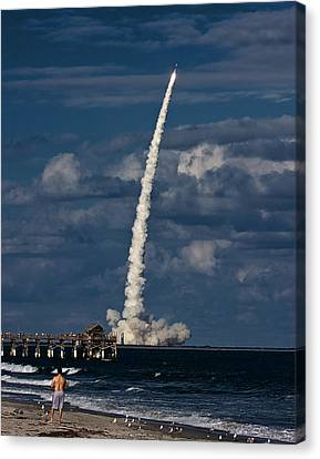 Canvas Print featuring the photograph Launch View by Ron Dubin