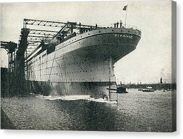 Launching Of The Rms Titanic Of The Canvas Print by Vintage Design Pics