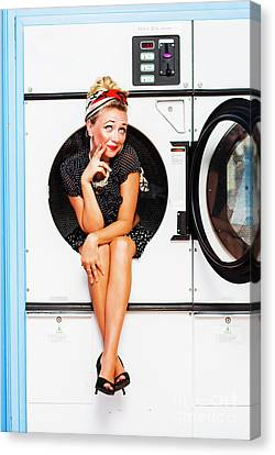 Laundromat Pin-up Portrait Canvas Print by Jorgo Photography - Wall Art Gallery