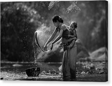 Laundry Canvas Print by Asit