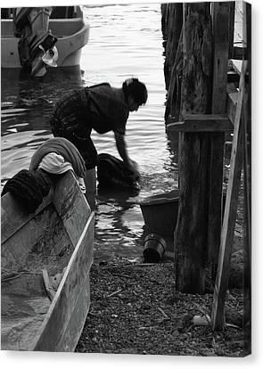 Laundry At The Lake Canvas Print by Tatiana Travelways