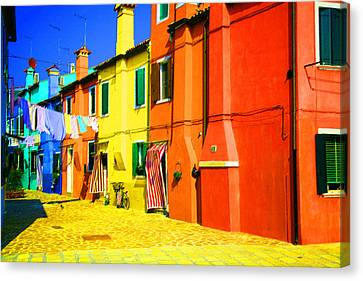 Canvas Print featuring the photograph Laundry Between Chimneys by Donna Corless