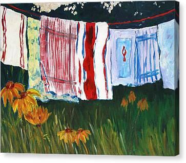 Laundry Day At Le Vieux Canvas Print by Tara Moorman