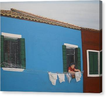 Canvas Print featuring the painting Laundry Day by Betty-Anne McDonald