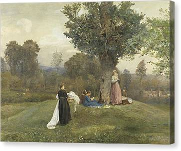 Laundry Day, West Somerset  Canvas Print by John William North