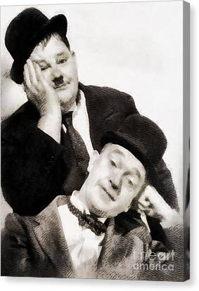 Glamor Canvas Print - Laurel And Hardy, Vintage Comedians by John Springfield