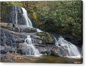 Smokey Mountains Canvas Print - Laurel Falls In Great Smoky Mountains National Park by Brendan Reals