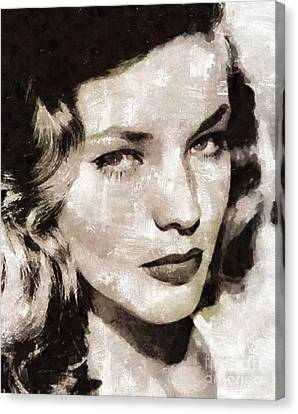 Lauren Bacall, Vintage Actress. By Mary Bassett Canvas Print
