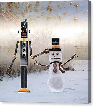 Laurence Builds A Snowman Canvas Print by Joan Ladendorf
