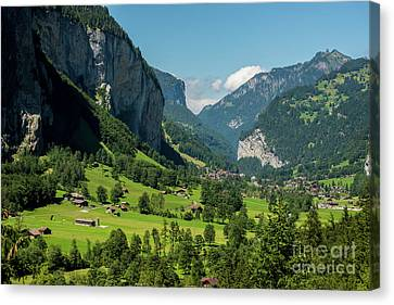 Canvas Print featuring the photograph Lauterbrunnen Mountain Valley - Swiss Alps - Switzerland by Gary Whitton