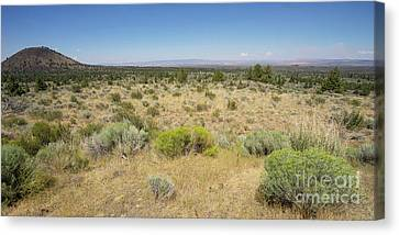 Canvas Print featuring the photograph Lava Beds National Monument California Dsc5317 Panorama by Wingsdomain Art and Photography