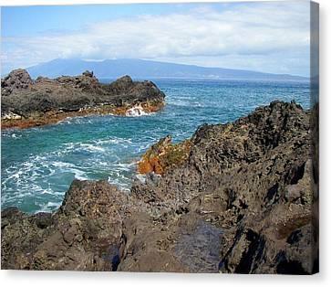 Hawaiian Rock Art Canvas Print - Lava Coastline - West Maui by Glenn McCarthy Art and Photography
