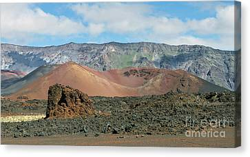 Lava Flow In The Crater Canvas Print by Frank Wicker