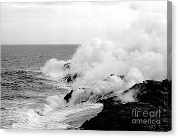 Lava Flowing To The Sea Canvas Print by Susan Chandler
