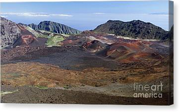 Lava Flows In The Haleakala Crater Canvas Print by Frank Wicker