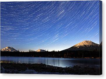 Canvas Print featuring the photograph Lava Lake Star Trails by Cat Connor