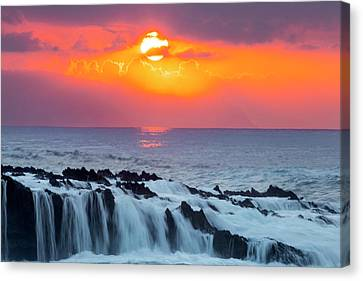 Lava Rock And Vog Sunset Canvas Print by Sean Davey