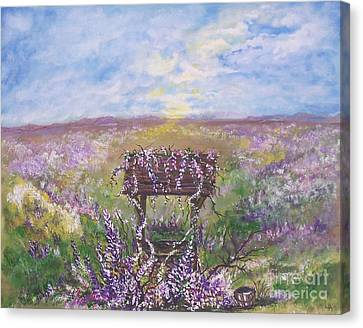 Canvas Print featuring the painting Lavendar Wishes by Leslie Allen