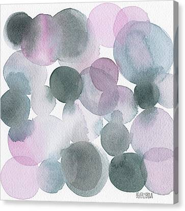 Lavender And Gray Circles Abstract Watercolor Canvas Print