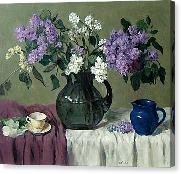Lavender And White Lilacs With Blue Creamer And Teacup Canvas Print