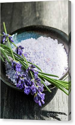 Canvas Print featuring the photograph Lavender Bath Salts In Dish by Elena Elisseeva