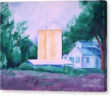 Canvas Print featuring the painting Lavender Farm Albuquerque by Eric  Schiabor