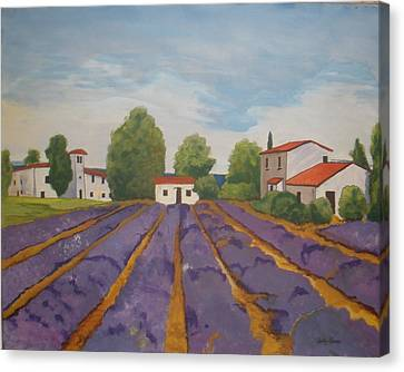 Canvas Print featuring the painting Lavender Field by Betty-Anne McDonald
