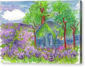 Canvas Print featuring the painting Lavender Fields by Cathie Richardson