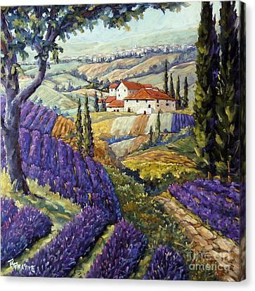 Lavender Fields Tuscan By Prankearts Fine Arts Canvas Print by Richard T Pranke