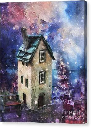 Canvas Print featuring the painting Lavender Hill by Mo T