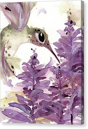 Canvas Print featuring the painting Lavender Hummer by Dawn Derman