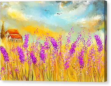 Lavender Memories - Lavender Field Art Canvas Print by Lourry Legarde