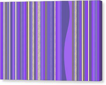 Canvas Print featuring the digital art Lavender Random Stripe Abstract by Val Arie