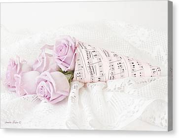 Lavender Roses And Music Canvas Print