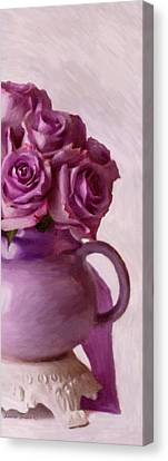 Lavender Roses And Tea Pot Canvas Print by Sandra Foster