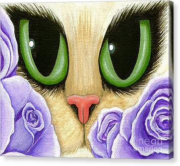 Lavender Roses Cat - Green Eyes Canvas Print by Carrie Hawks