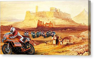 Laverda 26 Pole Position On A Athens Classic Painting Canvas Print