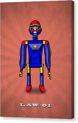 Police Art Canvas Print - Law 01 Robot by Mark Rogan