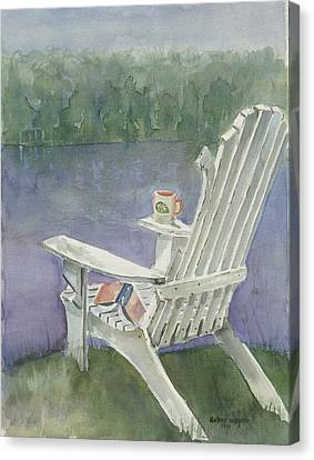 Lawn Chair By The Lake Canvas Print by Arline Wagner