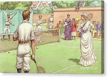 Lawn Tennis Being Played In The Victorian Age Canvas Print