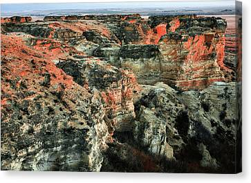 Canvas Print featuring the photograph Layers In The Kansas Badlands by Kyle Findley